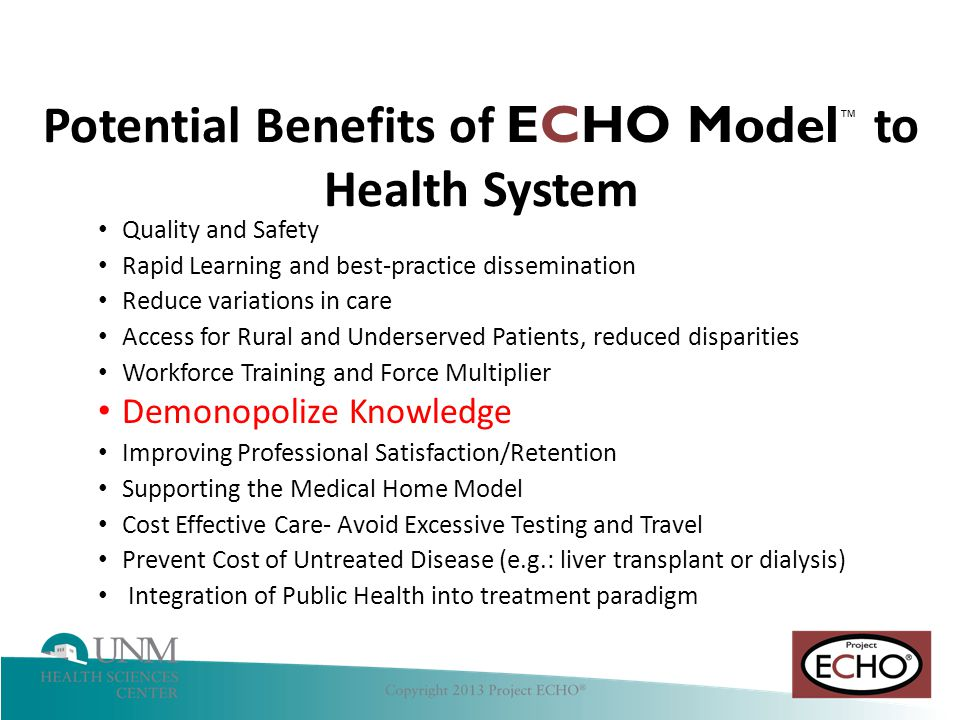 Potential Benefits of ECHO Model™ to Health System