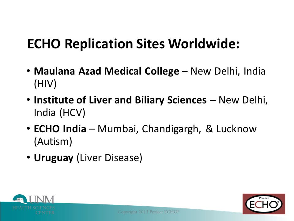 ECHO Replication Sites Worldwide: