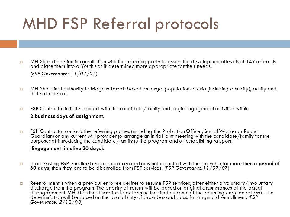 MHD FSP Referral protocols