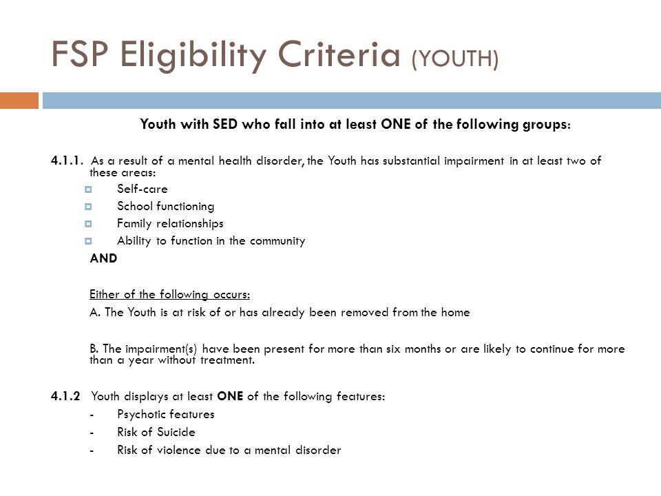 FSP Eligibility Criteria (YOUTH)