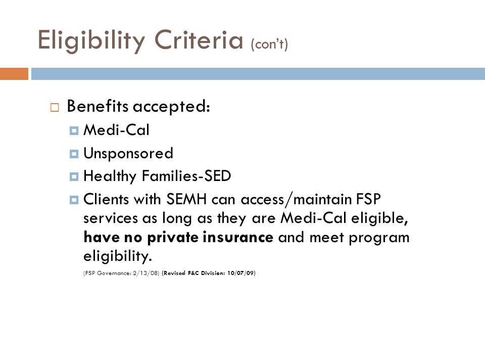 Eligibility Criteria (con't)
