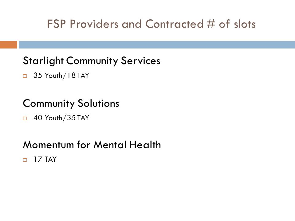 FSP Providers and Contracted # of slots