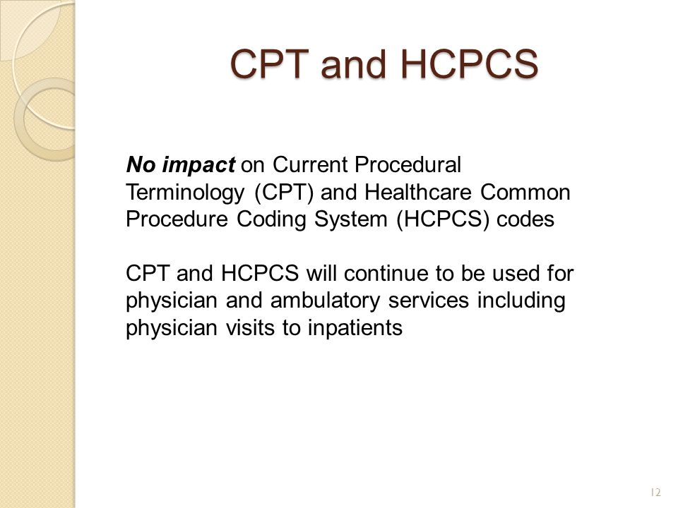 CPT and HCPCS No impact on Current Procedural Terminology (CPT) and Healthcare Common Procedure Coding System (HCPCS) codes.