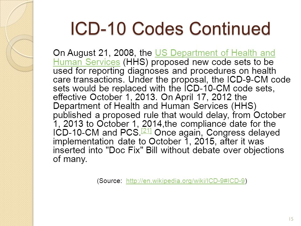 (Source: http://en.wikipedia.org/wiki/ICD-9#ICD-9)
