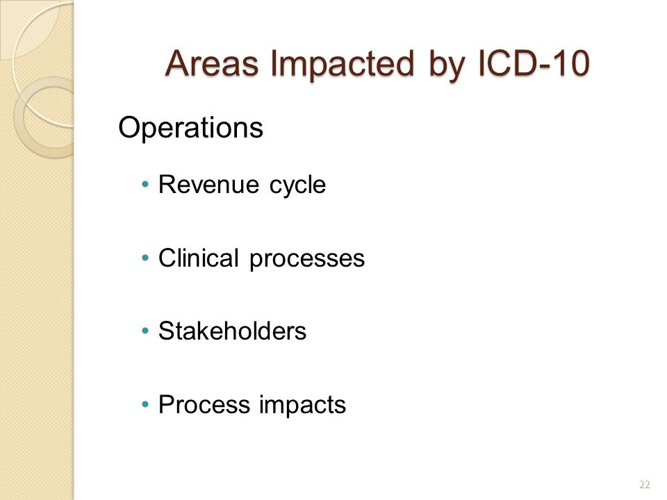 Areas Impacted by ICD-10 Operations Revenue cycle Clinical processes