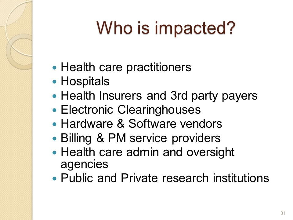 Who is impacted Health care practitioners Hospitals