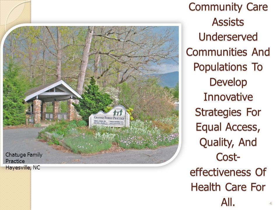 The Office Of Rural Health And Community Care Assists Underserved Communities And Populations To Develop Innovative Strategies For Equal Access, Quality, And Cost-effectiveness Of Health Care For All.