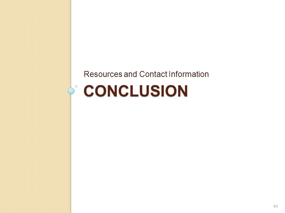 Resources and Contact Information conclusion