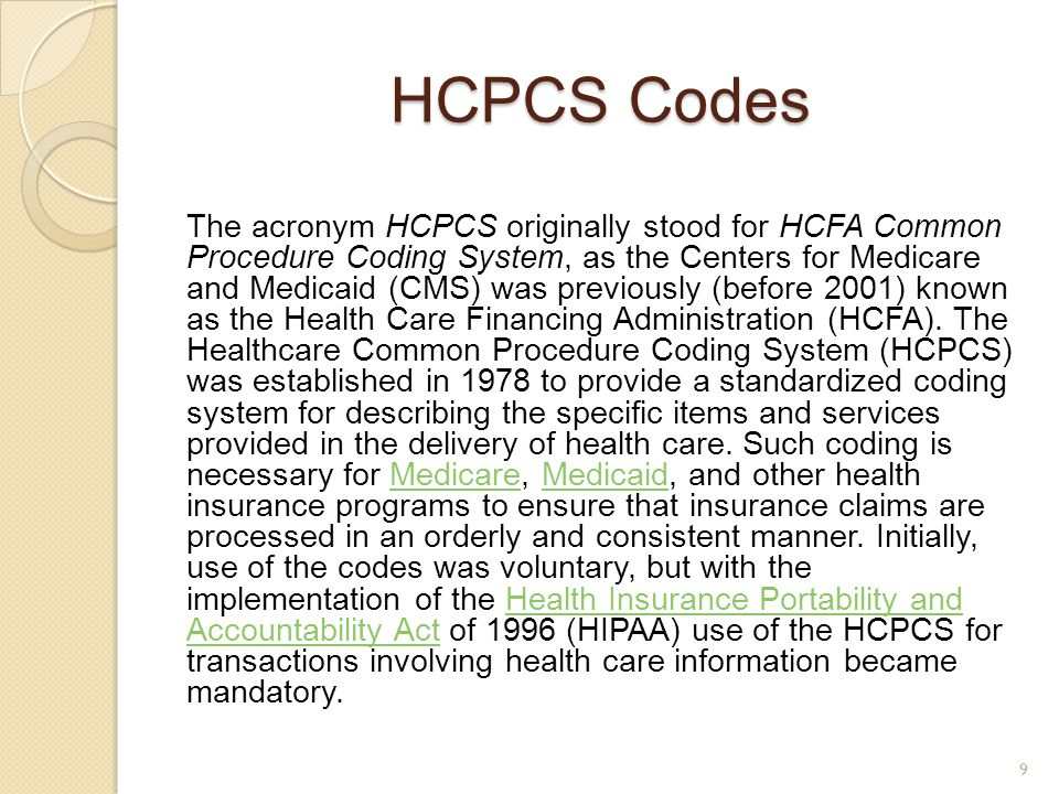HCPCS Codes