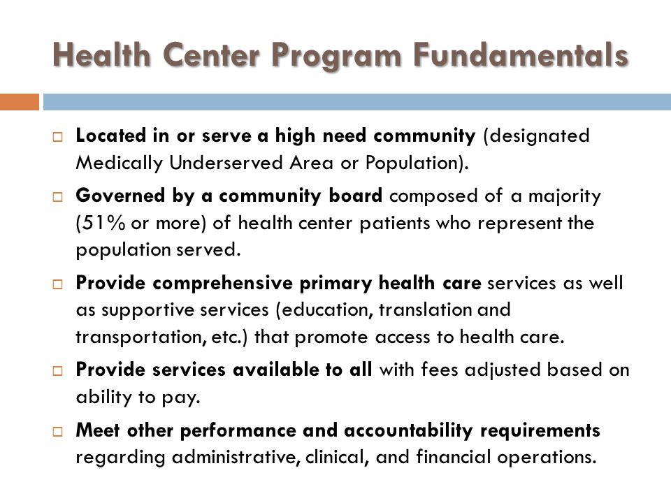 Health Center Program Fundamentals
