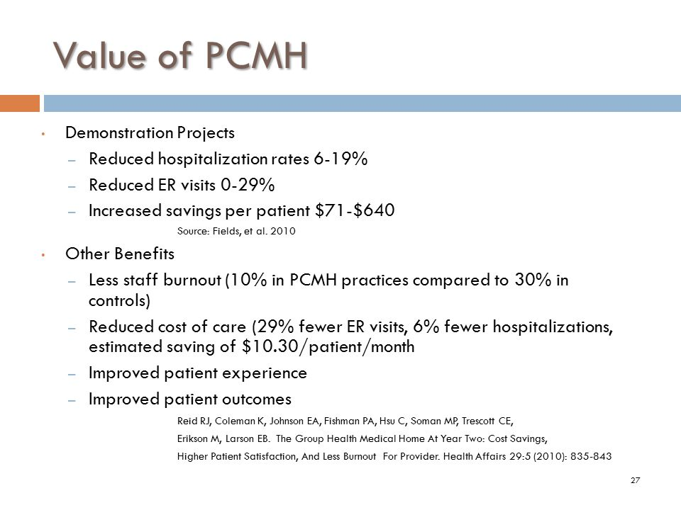 Value of PCMH Demonstration Projects