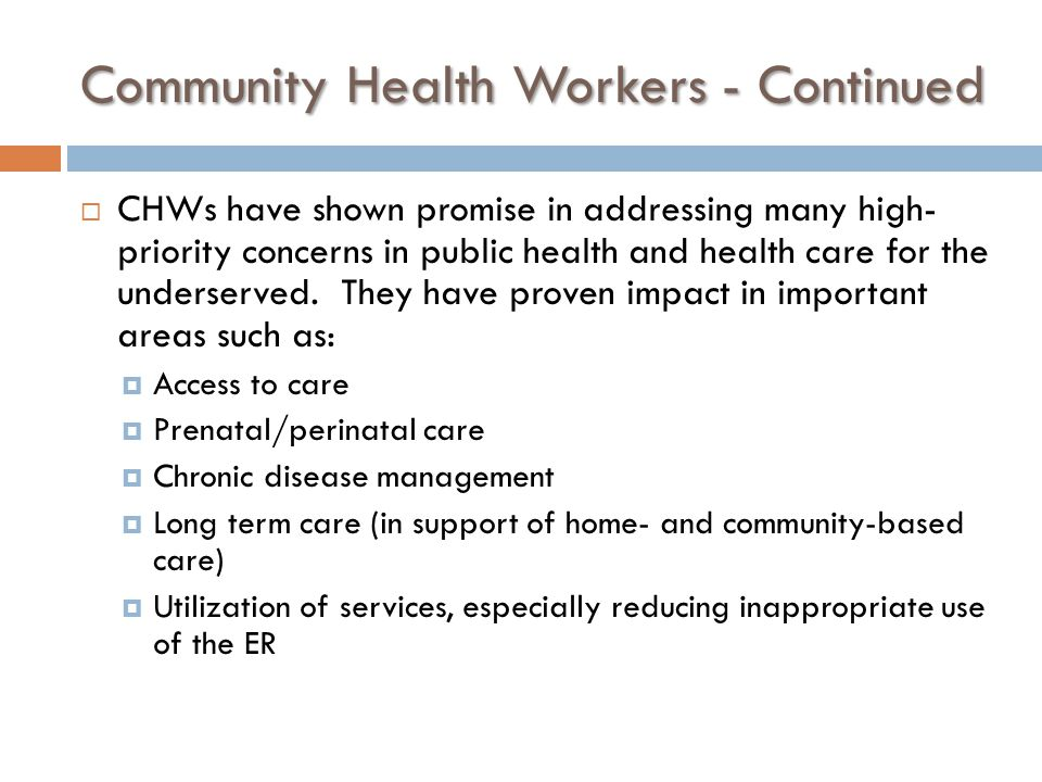 Community Health Workers - Continued