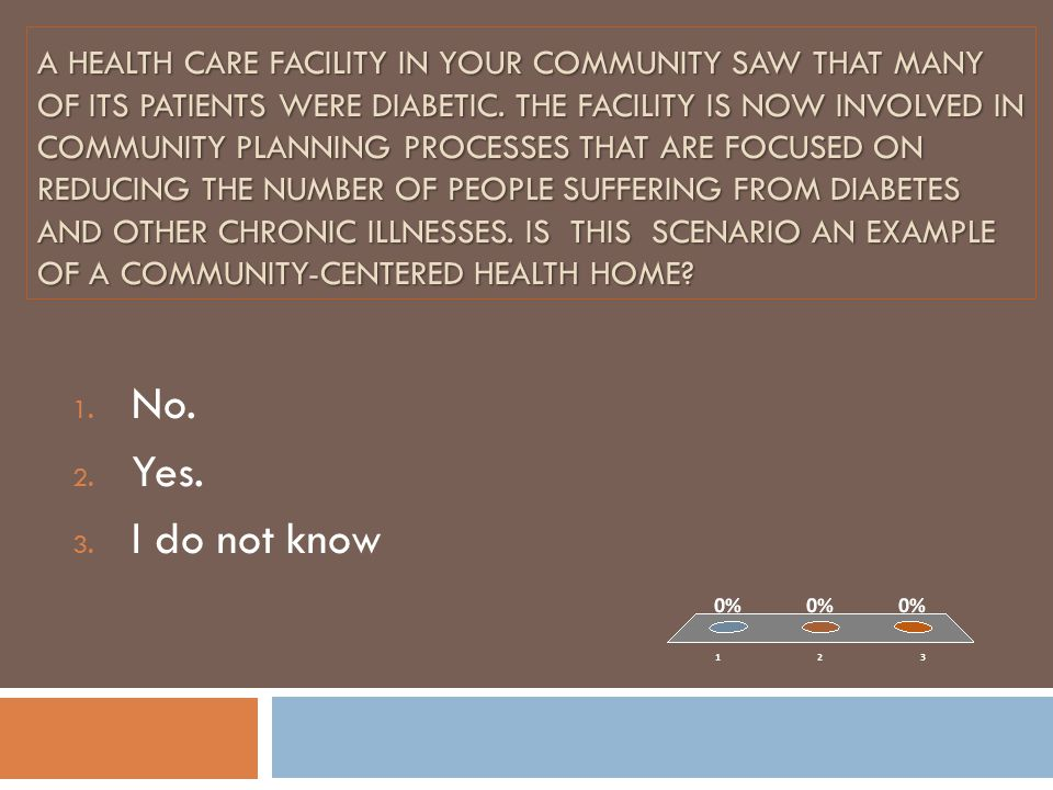 A health care facility in your community saw that many of its patients were diabetic. The facility is now involved in community planning processes that are focused on reducing the Number of people suffering from Diabetes and other Chronic Illnesses. Is this Scenario an example of a Community-centered Health Home
