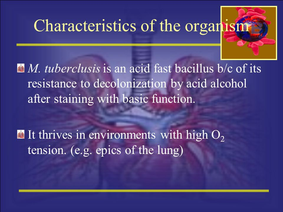 Characteristics of the organism