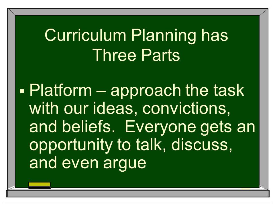 Curriculum Planning has Three Parts