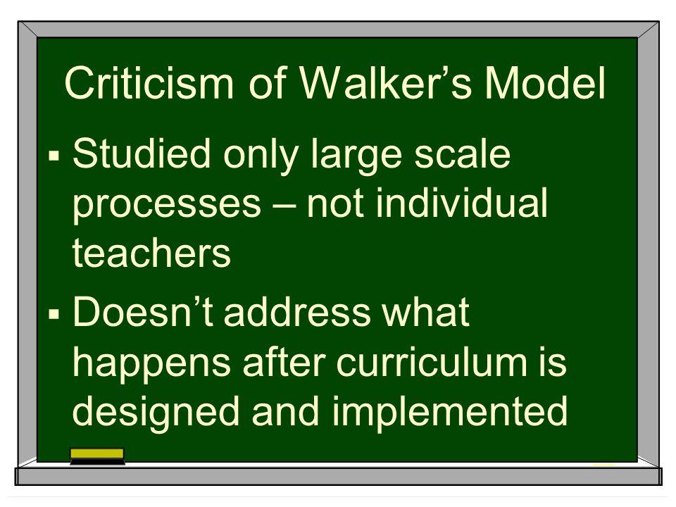 Criticism of Walker's Model