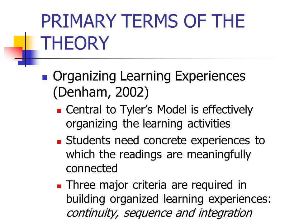 PRIMARY TERMS OF THE THEORY