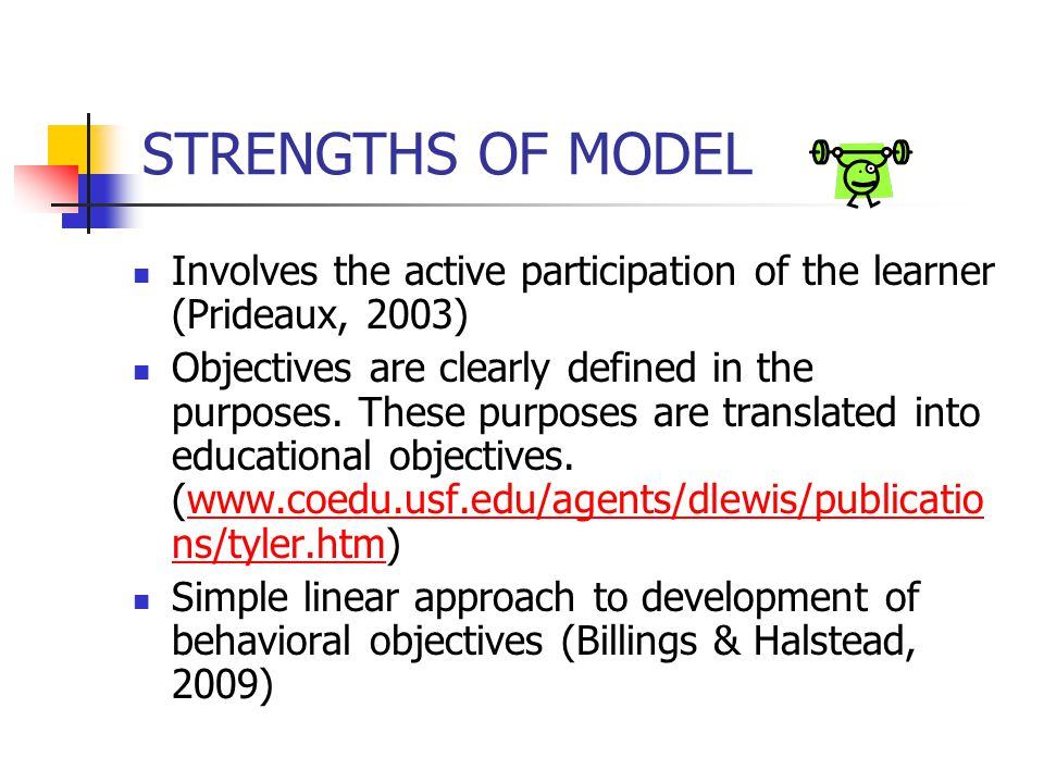 STRENGTHS OF MODEL Involves the active participation of the learner (Prideaux, 2003)