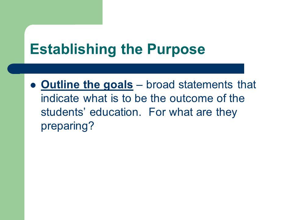 Establishing the Purpose