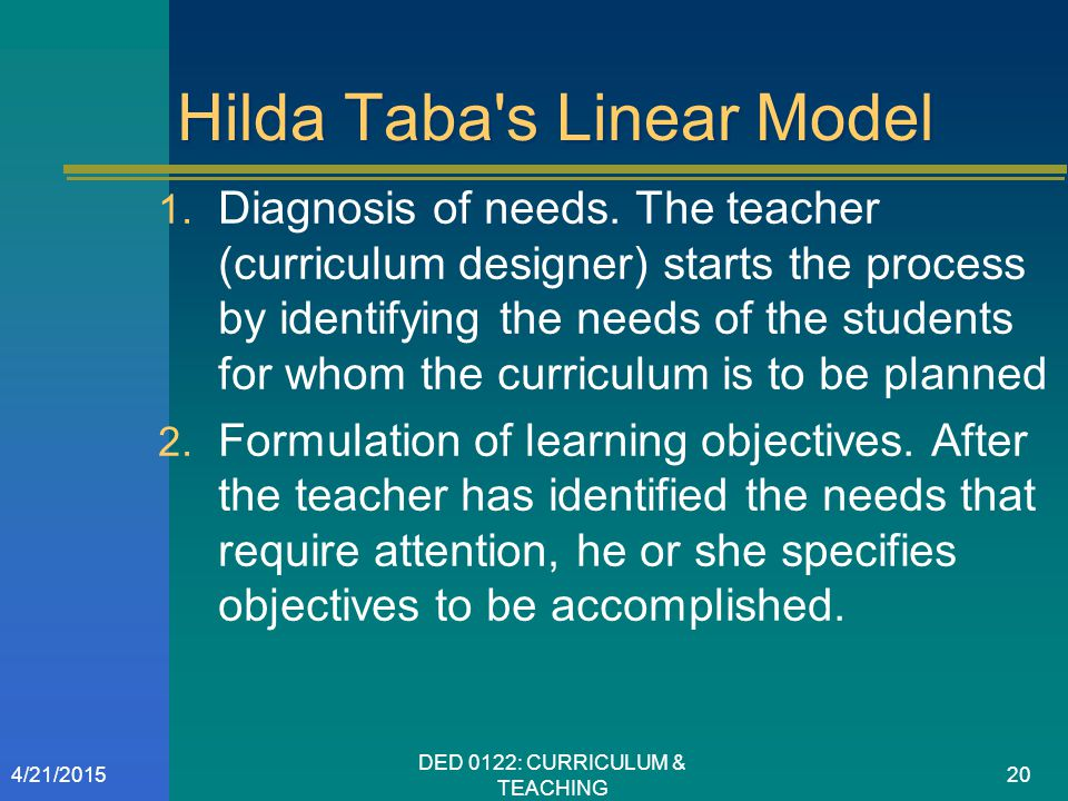 Hilda Taba s Linear Model