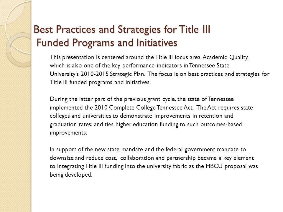 Best Practices and Strategies for Title III Funded Programs and Initiatives