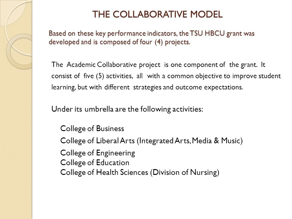 Under its umbrella are the following activities: College of Business
