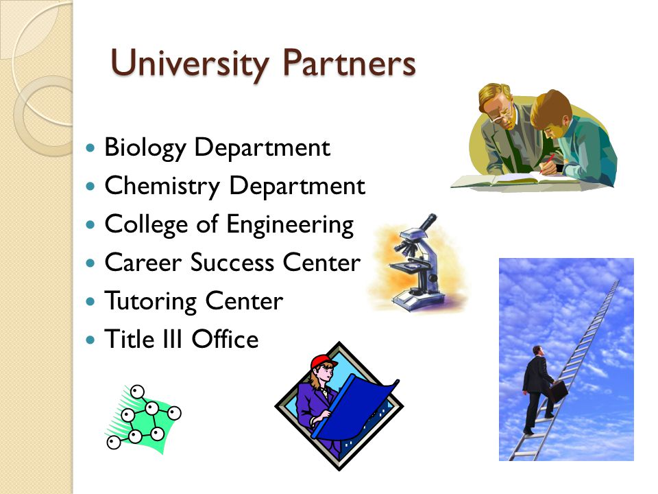 University Partners Biology Department Chemistry Department