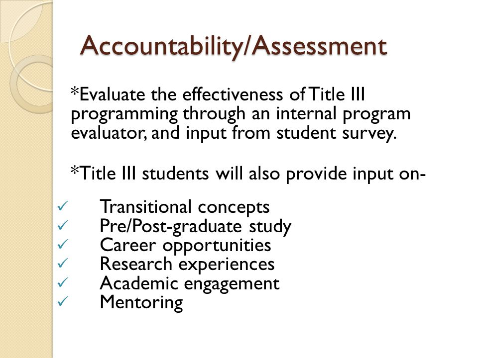 Accountability/Assessment