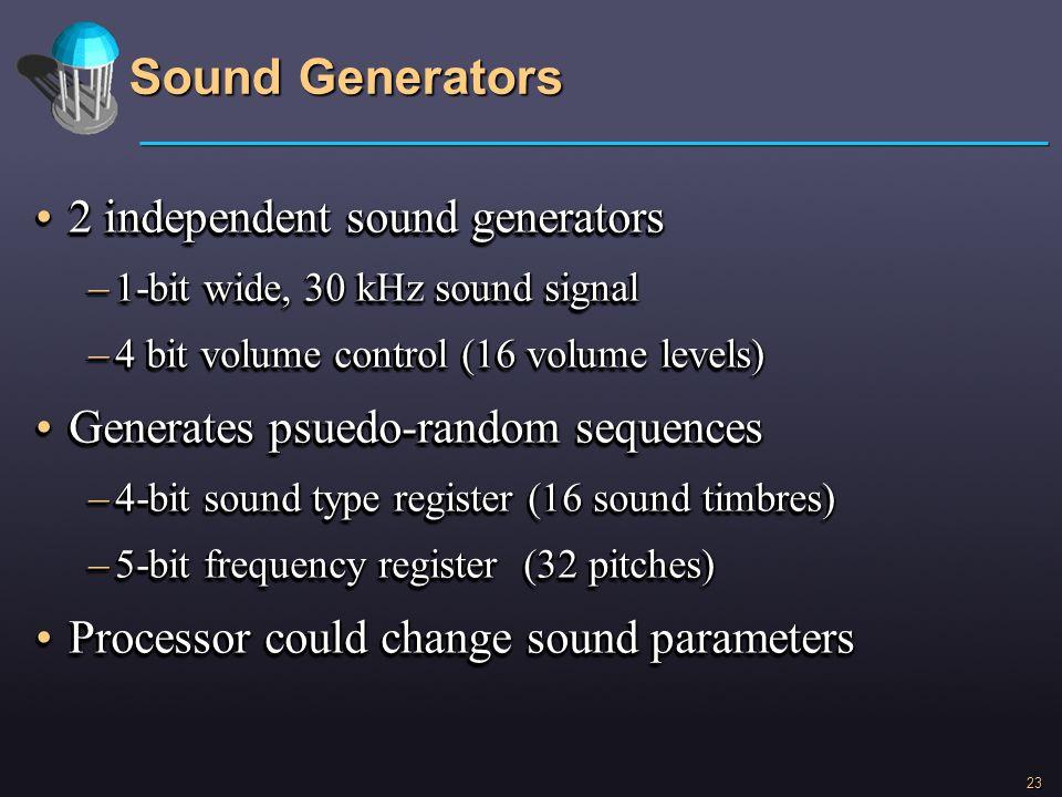 Sound Generators 2 independent sound generators