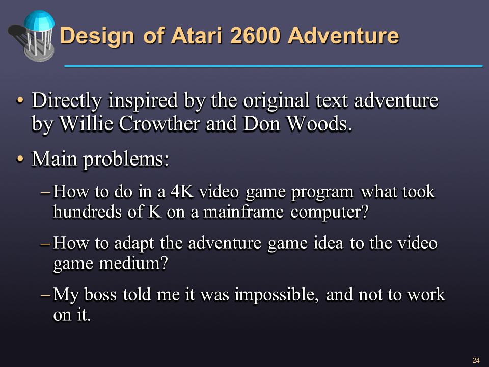 Design of Atari 2600 Adventure
