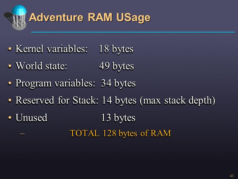 Adventure RAM USage Kernel variables: 18 bytes World state: 49 bytes