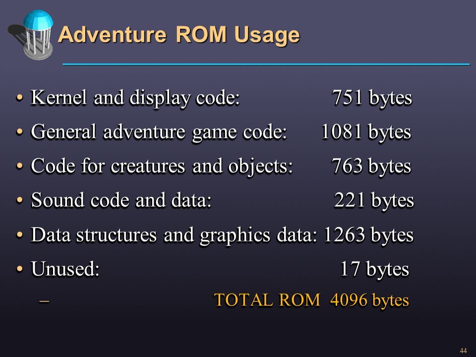 Adventure ROM Usage Kernel and display code: 751 bytes