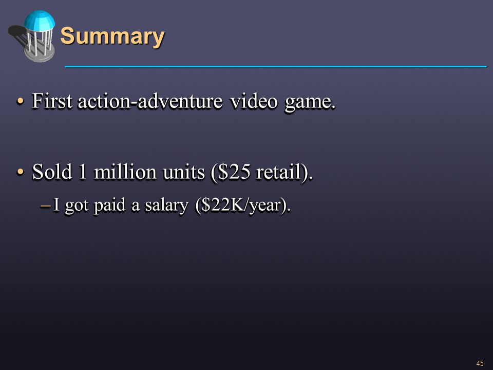 Summary First action-adventure video game.