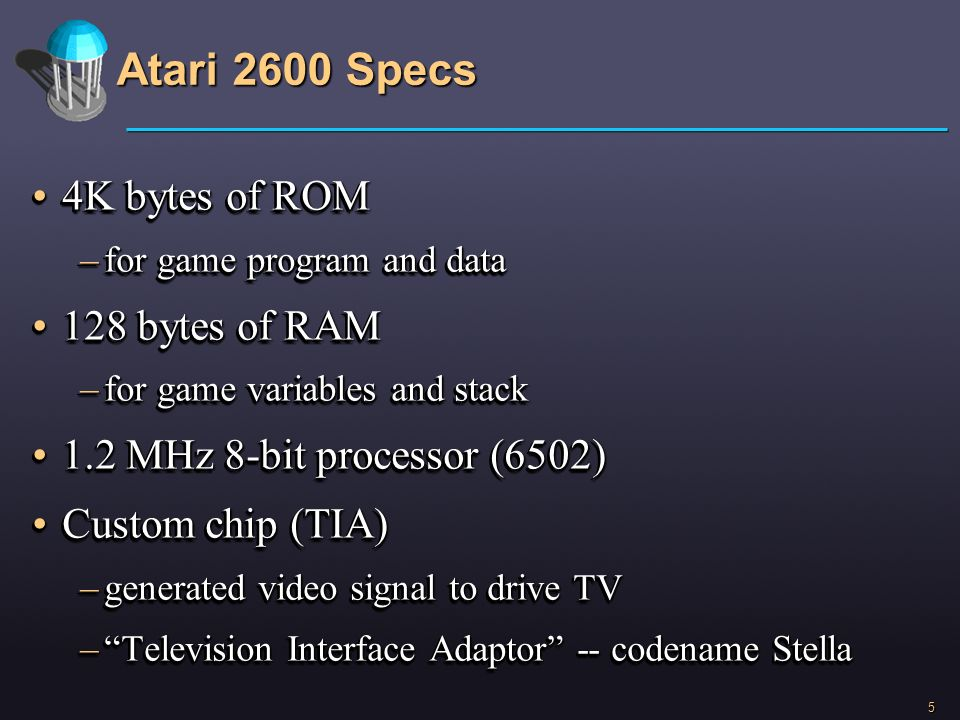 Atari 2600 Specs 4K bytes of ROM 128 bytes of RAM