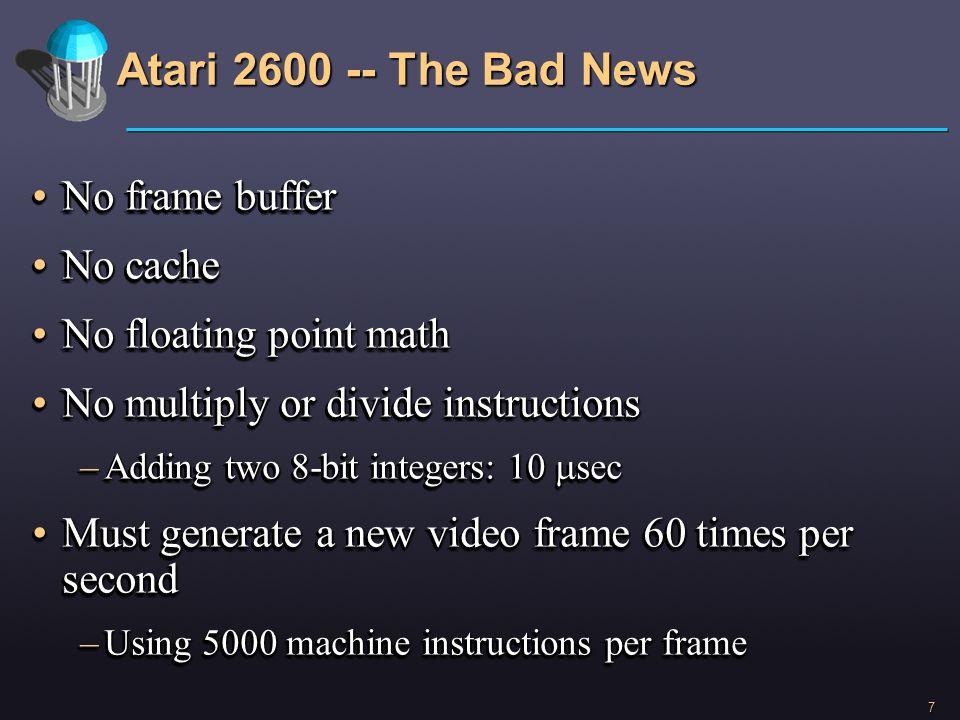 Atari 2600 -- The Bad News No frame buffer No cache