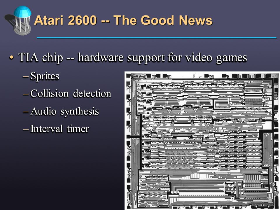 Atari 2600 -- The Good News TIA chip -- hardware support for video games. Sprites. Collision detection.