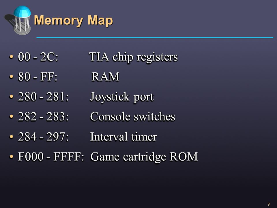 Memory Map 00 - 2C: TIA chip registers 80 - FF: RAM