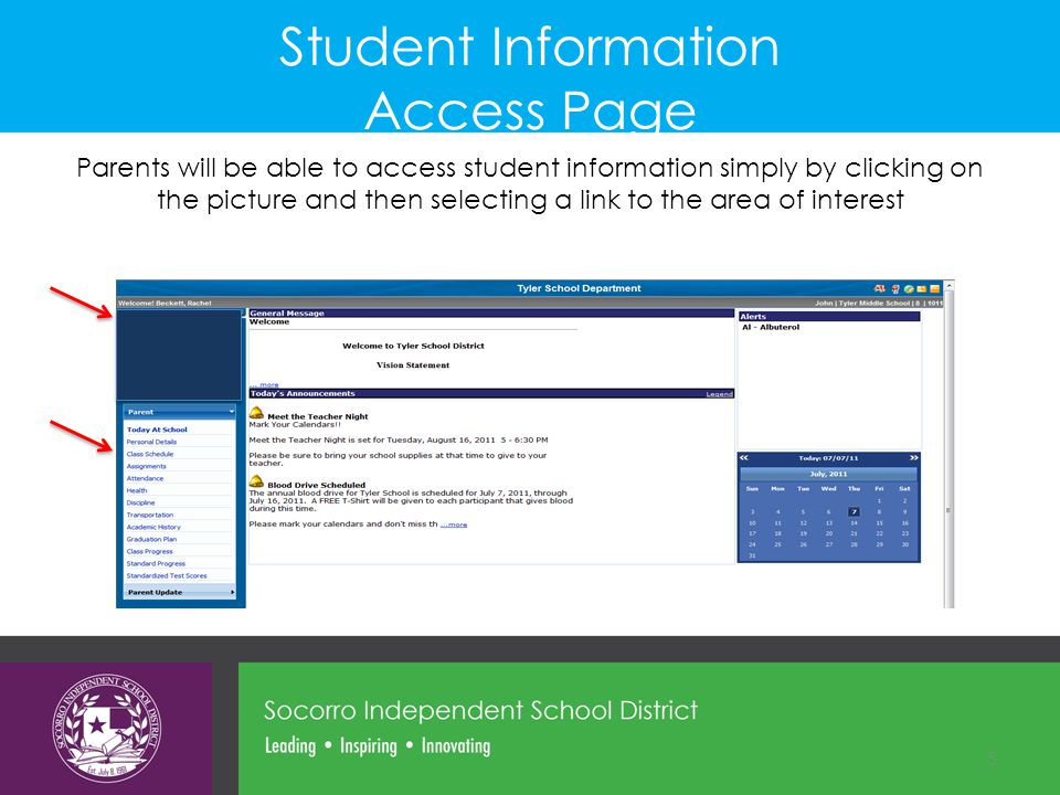 Student Information Access Page
