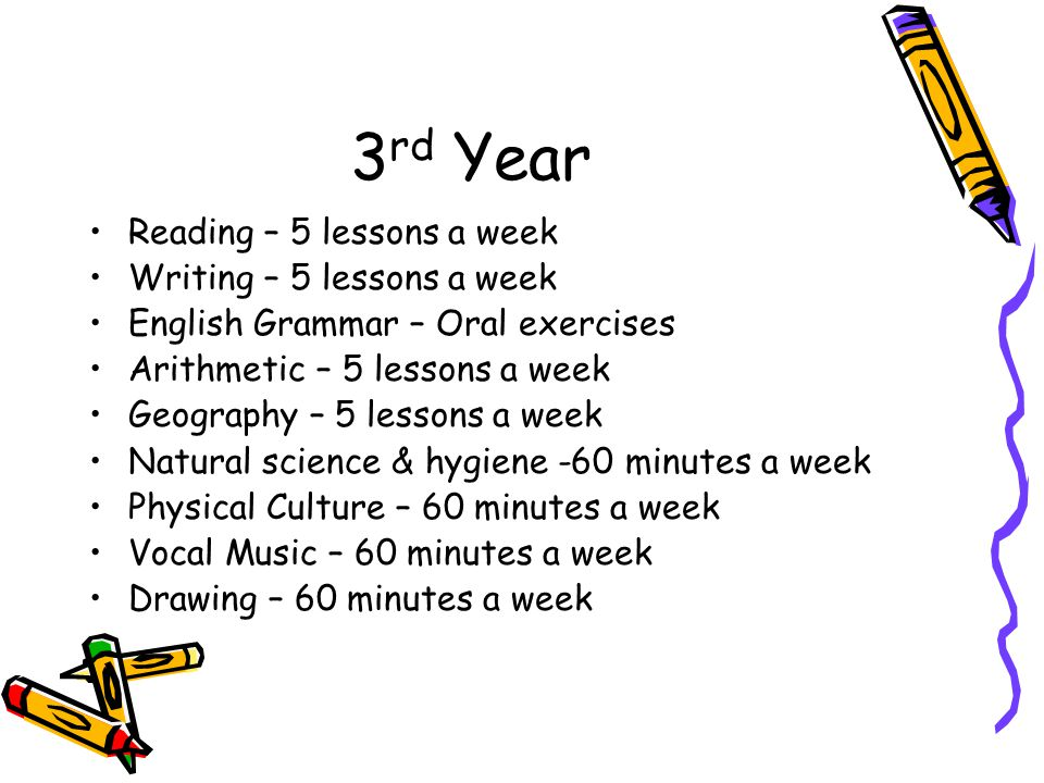 3rd Year Reading – 5 lessons a week Writing – 5 lessons a week