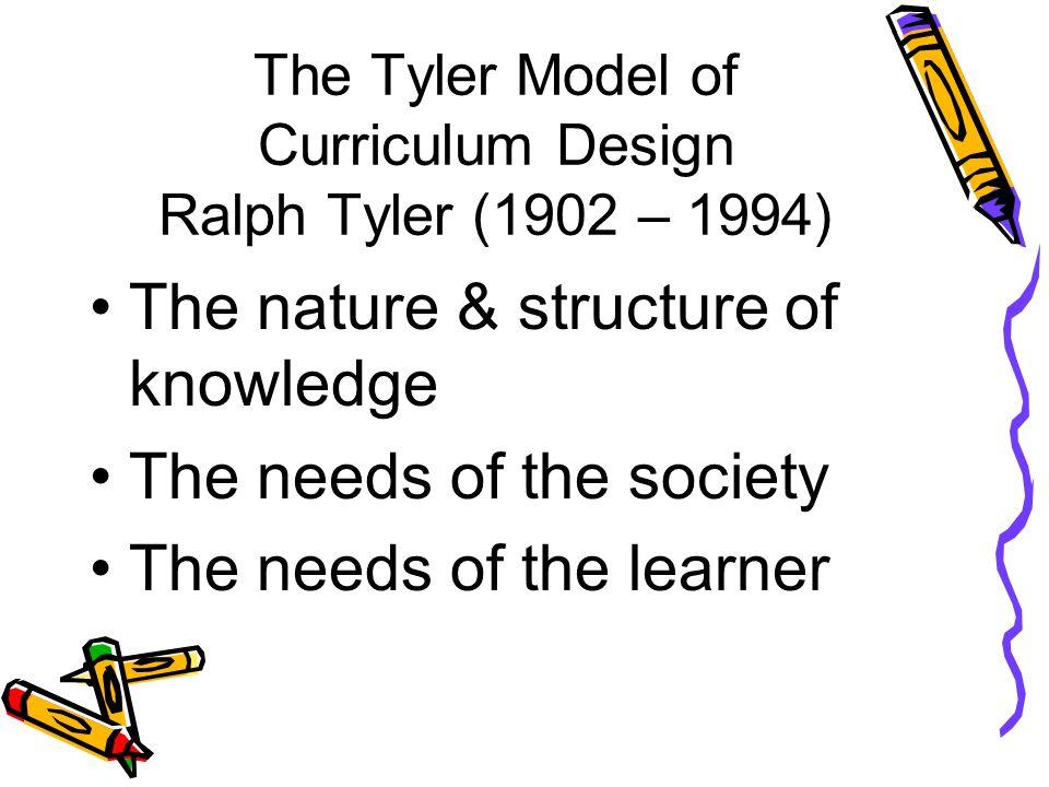 The Tyler Model of Curriculum Design Ralph Tyler (1902 – 1994)