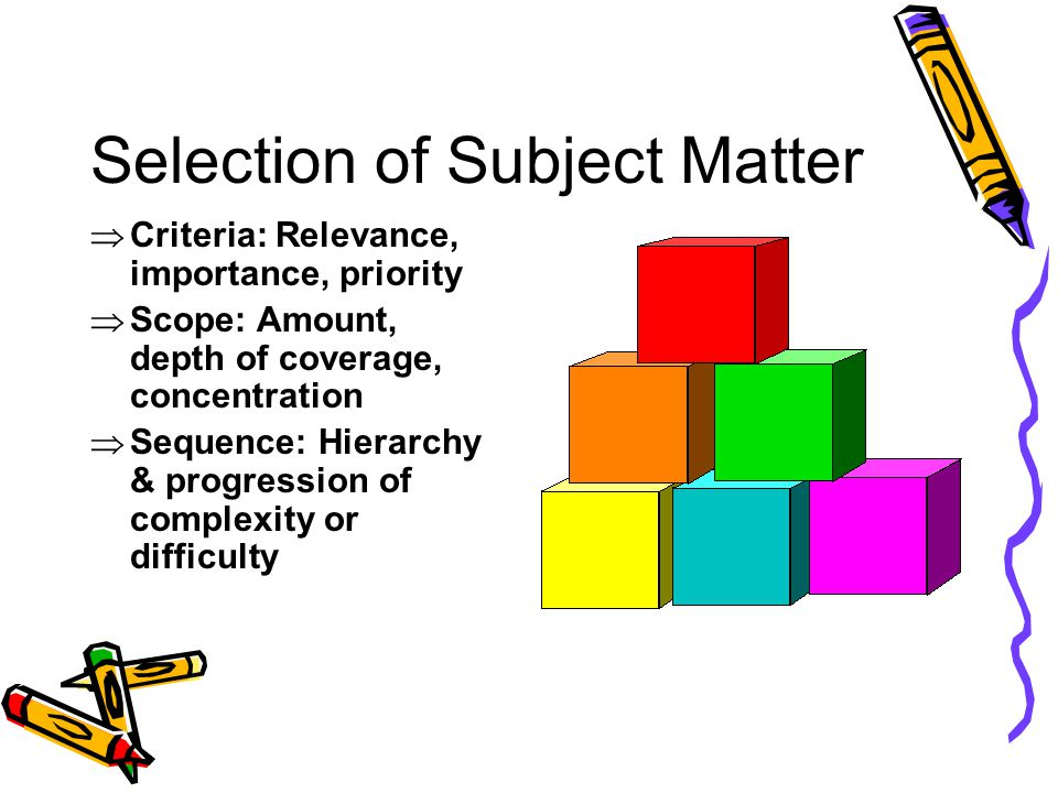 Selection of Subject Matter