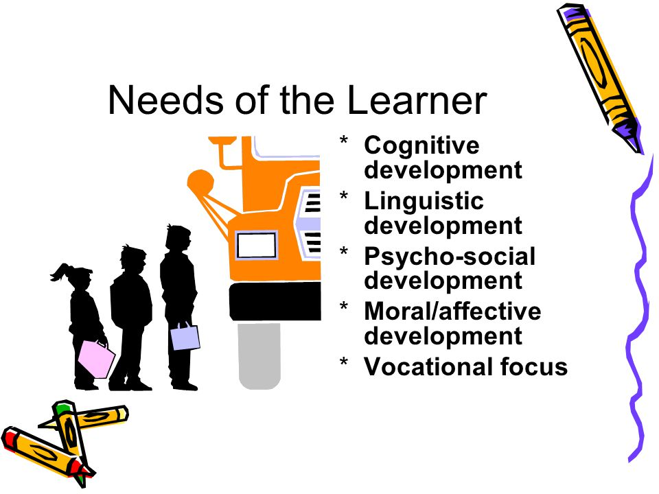 Needs of the Learner Cognitive development Linguistic development