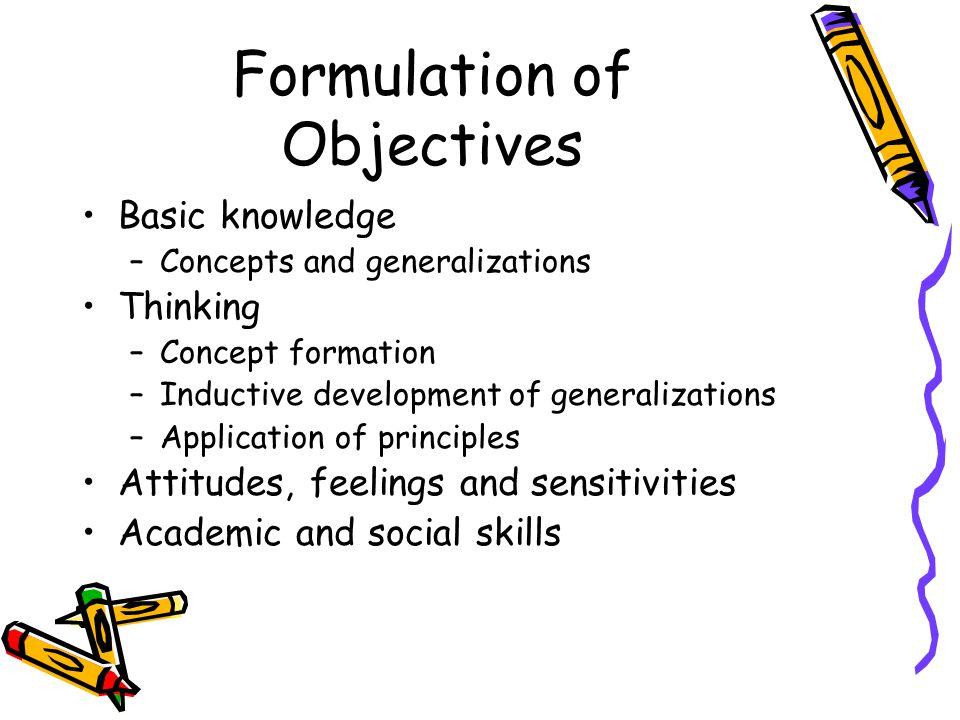 Formulation of Objectives