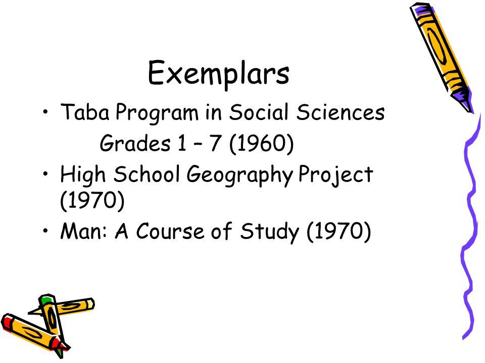 Exemplars Taba Program in Social Sciences Grades 1 – 7 (1960)