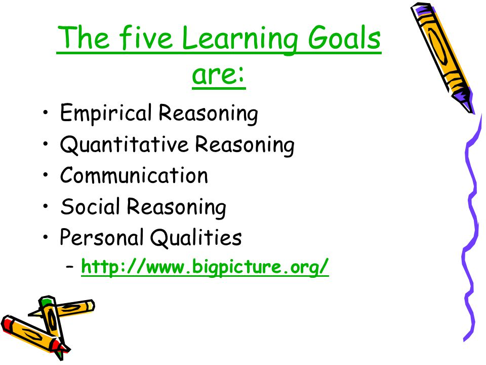 The five Learning Goals are:
