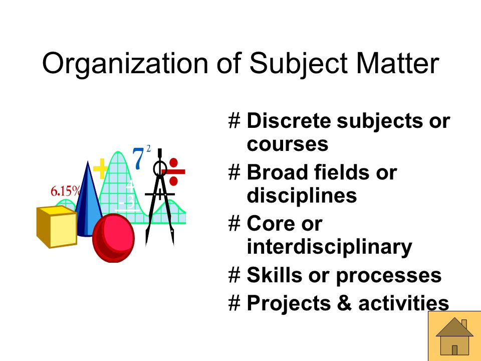 Organization of Subject Matter