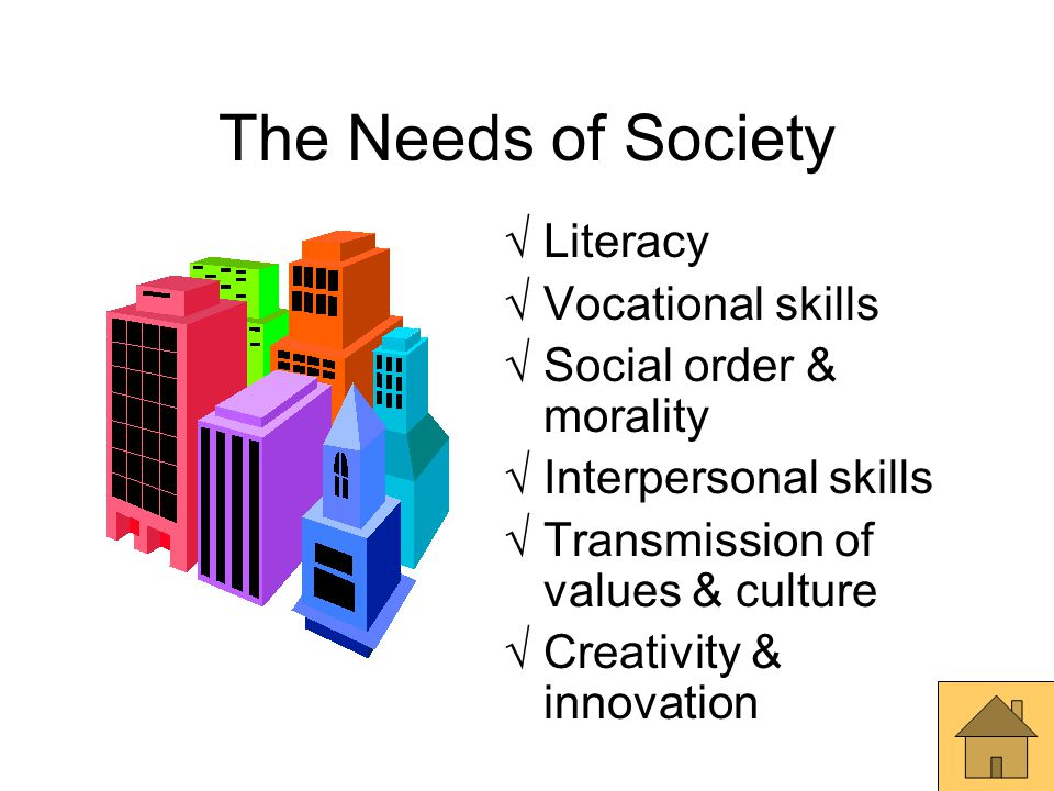 The Needs of Society Literacy Vocational skills
