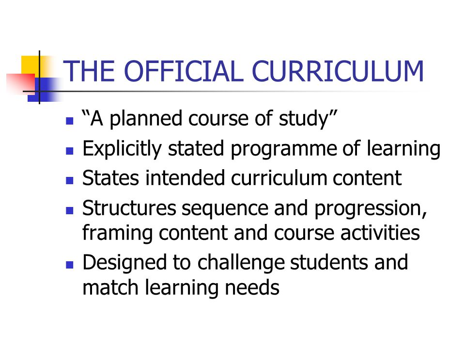 THE OFFICIAL CURRICULUM