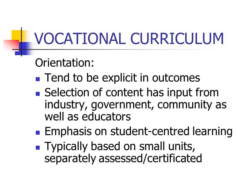 VOCATIONAL CURRICULUM