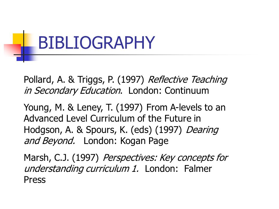 BIBLIOGRAPHY Pollard, A. & Triggs, P. (1997) Reflective Teaching in Secondary Education. London: Continuum.